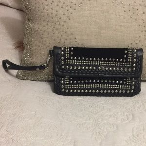 Black leather wristlet